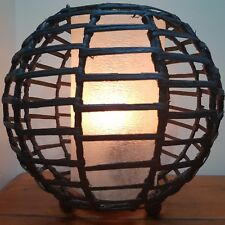 RATTAN TEA LIGHT CANDLE HOLDER HURRICANE LAMP METAL FRAME HANGING HOOKS BALINESE