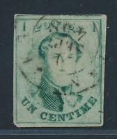 "Belgium 1858, MI. 6 II, OBP 9 II c""flessegroen"", fine, Mi. 410,-€"