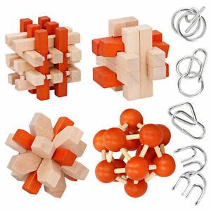 Knobelspiel Holz Metall Denkspiel Set Geduldspiel IQ 3D Metallpuzzle Holzpuzzle