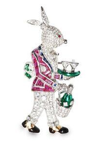 Bunny 925 Sterling Silver Brooch Pin CZ Pink Princess Rabbit Wine Design-Royale