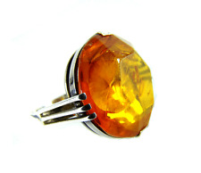 Art Deco Bernstein Silber Ring Ø 2 cm Königsberger Facetten Schliff Baltic Amber