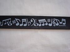"MUSIC SLAP Bracelet 11"" Long Black W/MUSIC Symbols Great Gift Brand NEW"