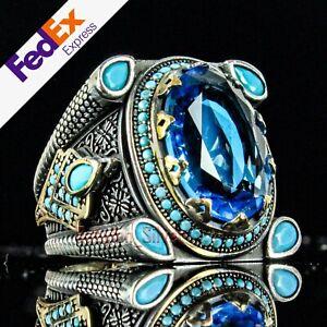 925 Sterling Silver Aquamarine & Turquoise Stone Turkish Luxury Men Ring AllSize