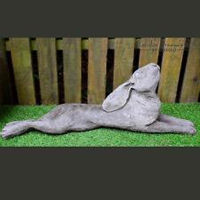 MOON GAZING HARE RECLINING Cast Stone Garden Ornament Statue Animal ⧫onefold-uk