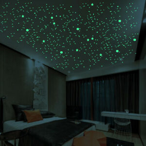 Luminous Dots Stars And Full Moon Wall Stickers Decor For Kids Bedroom Supplies