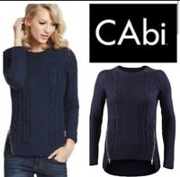 CAbi Style 899 Double Zipper Cable Knit Sweater Sz L