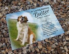 Saint Bernard pet dog, In loving memory, Heastone gravestone memorial plaque