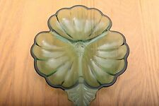Blue Green Clover Shaped Glass Bowl Vintage