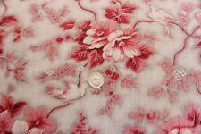 """Antique 19thC French Floral & Bird Toile Fabric~Picotage Ground~1yd1""""LX32""""W~Home"""