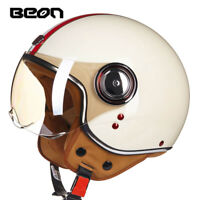 BEON 3/4 Full Face Motorcycle Retro Helmet Motorcross Vintage helmets Old School