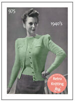 1940s Ladies Wartime Twinset Knitting Pattern Copy