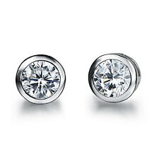 White Gold Plated Earring  Round AAA Cubic Zirconia Women's G218
