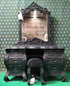 A work of ART      Gothic Matt Black Rococo Dresser     Handcarved Mahogany Wood