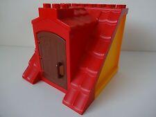 LEGO Duplo-Rouge toit avec Orange Murs & ouverture porte-Idéal Pour Maison/Ferme