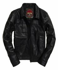 """New Superdry Curtis Leather Jacket Size: 2XL 44"""" (112cm) RRP £199.99"""