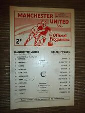 1967/68 Football Programme: Manchester United Res. v Bolton Wands. Res- 24th Feb