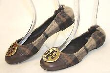Tory Burch Reva Womens 7.5 Wool Plaid & Chocolate Leather Ballet Flats Shoes kf