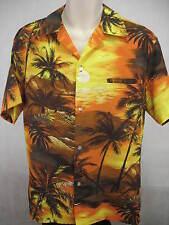 Kai Nani Polyester Large Hawaiian Shirt VTG Orange Sunset Aloha Beach Scene