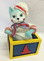 "Vtg. Bisque Porcelain Sailor Cat in Wooden Music Box, Plays ""Memories""- Rare EUC"