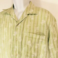Tommy Bahama Long Sleeved Linen Shirt XLarge Pineapples Cruise Travel