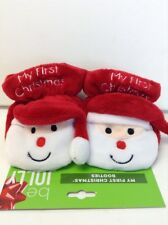"Infant Christmas Booties Red and White ""My First Christmas"" with Santa Face"