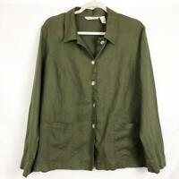 French Laundry Women's XL Button Up Top Shirt Long Sleeve Olive Green 100% Linen