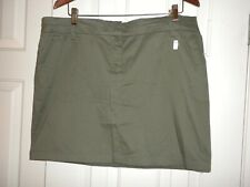 Women's 14 Olive Khaki Short Skirt Cambridge Dry Goods above knee Stretch NWT