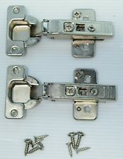 Lot Of 2 Blum Hinges 70T555 Clip On 120° Plates, Screws, Frameless Face Cabinet