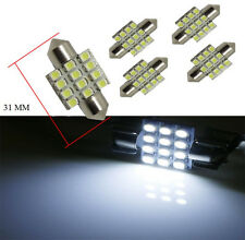 "5 x 31mm(1.25"") Xenon White 12-SMD Dome Festoon Light LED Bulbs DE3175 DE3022"