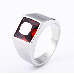 Square Red Zircon Wedding Ring Stainless Steel Men Women Polished Silver Ring