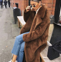 H&M TREND FAUX FUR BROWN OVERSIZED SOFT COAT BLOGGER FAVE SOLD OUT 34 UK 6 8 10