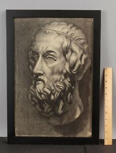 Original ELANOR COLBURN Charcoal Drawing Greek Philospher PLATO Sculpture Bust