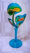 Hand Painted Psychedelic Magic Mushrooms Washable Colourful Wine Glass Gift UK