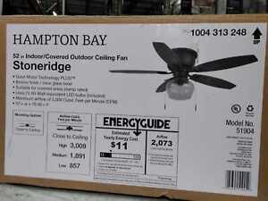 "Hampton Bay Stoneridge 52"" LED In/Outdoor Bronze Hugger Ceiling Fan w/ Light Kit"