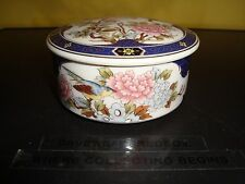 "UCCG Floral Japanese Themed Porcelain Trinket Box - 3 3/4"" diameter  1 1/2"" tall"
