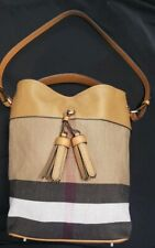 BURBERRY  Canvas Check Ashby Tassels Saddle Brown Hobo Bucket Convertible Bag