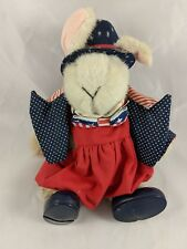 "North American Bear Co Hoppy Vanderhare Rabbit Plush Sits 7"" Tall Patriot 1990"