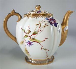 Limoges Haviland porcelain china DerbyTeapot 1888 1896 hand painted Antique