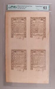 1786 Rhode Island 1s-2s6d-6d-9 Colonial Currency Uncut Sheet PMG Uncirculated 61