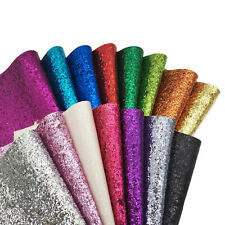 Assorted 15pcs Sparkly Chunky Glitter Fabric Leather Vinyl DIY Bow Crafts 8x12""