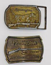 Remington Arms Dog Gun Bronze Belt Buckles - Lot of 2  (W1)