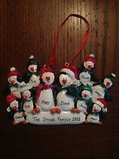 Personalized Penguin Family of 10 Christmas Ornament
