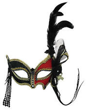 Red Black Eye Mask With Side Feather Venetian Masquerade Ball Fancy Dress