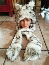 Snow Leopard Hoodie 3 Function Hat Scarf with Ear Hand Pocket Mittens NWT