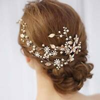 Wedding Leaf Headband Pearl Flowers Bridal Handmade Hairband Hair Accessories A