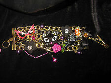 BETSEY JOHNSON RARE VAMPIRE SLAYER CAT CROW GLASSES  STATEMENT BRACELET