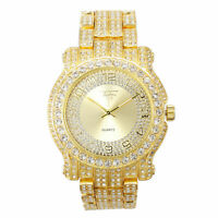Fully Iced Men Gold Watch Bling Rapper Simulate Lab Diamond Luxury Band Party