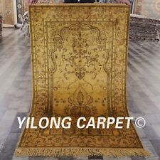 YILONG 3'x5' Handmade Silk Carpet Gold Family Room Washed Rug G34AB