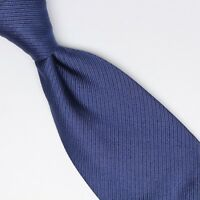 Fabio Ferretti Mens Silk Cotton Necktie Dark Blue Ribbed Texture Weave Tie Italy