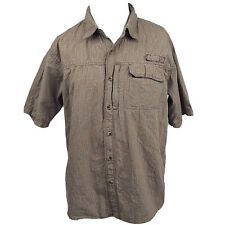 Wrangler Shirt Mens Large Brown Plaid Short Sleeve Cotton Western Cowboy Casual